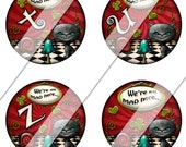 Alice in Wonderland Images One Inch Circle Bottlecap Pendant Size Digital Collage Sheet The White Rabbit Mad Hatter Tea Party