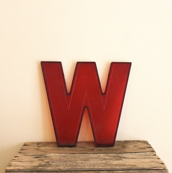 Vintage Letter W - Red Movie Theater Marquee