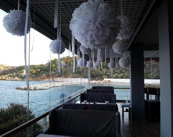 ON SALE..Tissue Paper Pom Poms - Set of 60 White Poms - Weddings//Ceremony//Bridal//Parties