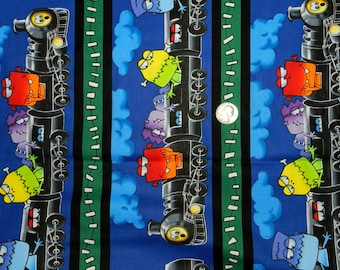Monster Train - Fabric By The Half Yard 18 inches x 44 inches