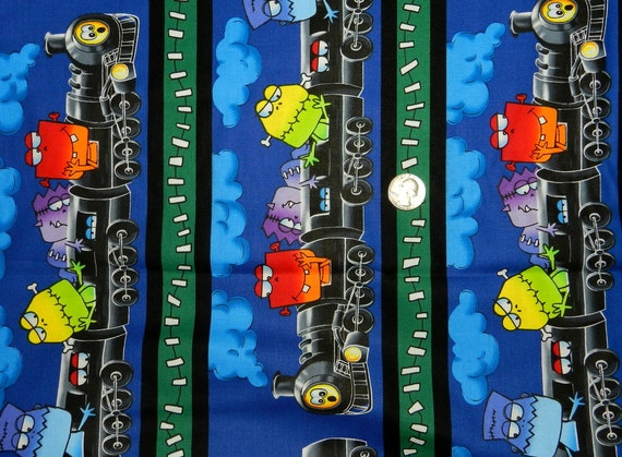 Monster train fabric by the half yard 18 inches x 44 for Train fabric by the yard