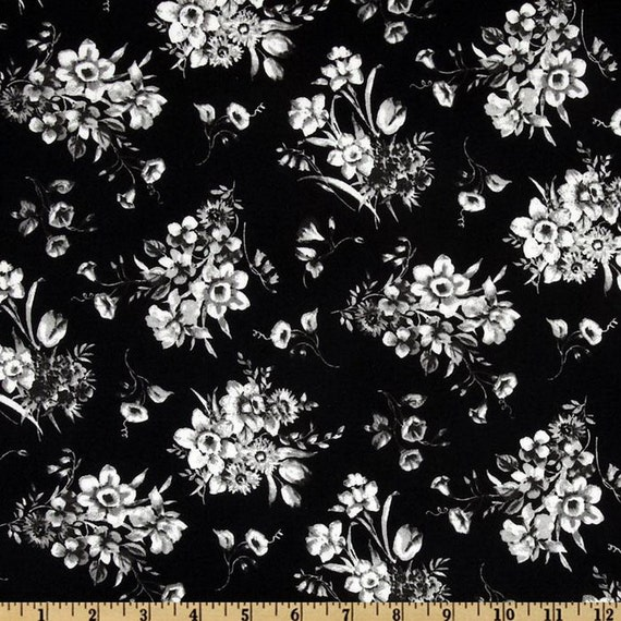 Black and White Flower Bouquet Stencil - Fabric By The Half Yard 18 inches x 42 inches  - H