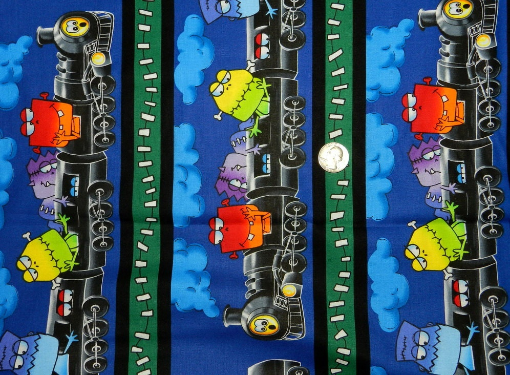 Monster train fabric by the half yard 18 inches x 44 inches for Train fabric by the yard