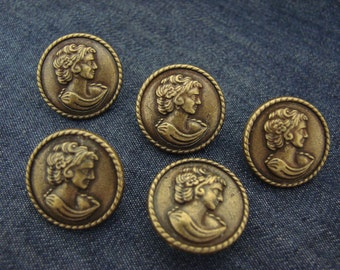 10 Jean Tack Buttons Pattern 20mm Bronze Gold Antique Vintage Design, NO-SEW from usa