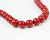 7mm Natural Red Coral Gemstone Round Loose Beads 15.5""