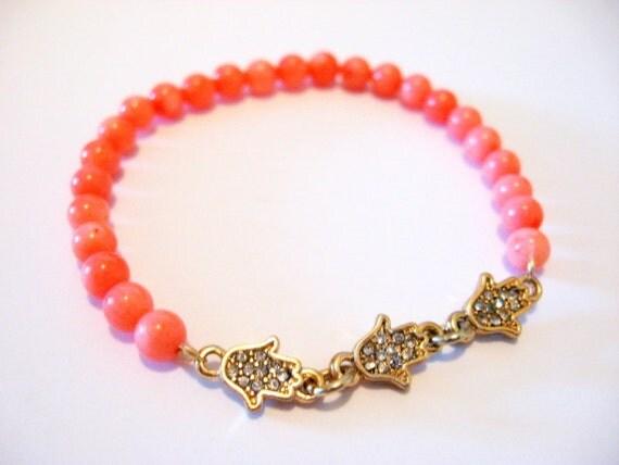 Hamsa Hand and Coral Bracelet