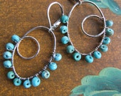 December Birthday Healer Of The Spirit GENUINE TURQUOISE BEAD Earrings,  Wire Wrapped On Sterling Silver Ovals