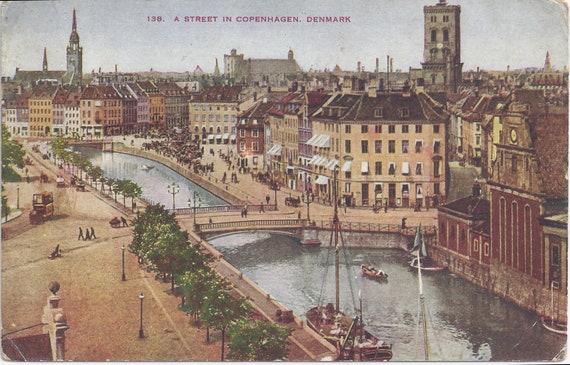 RESERVED LISTING KMGEMS Street in Copenhagen, Denmark, Vintage Unused Postcard, 1910s