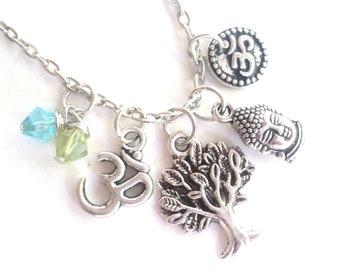 Tree of Life Buddha Necklace Om Namaste Yoga Jewelry Spiritual Meditation Unique Gift For Her Christmas Stocking Stuffer Under 50 Item T40