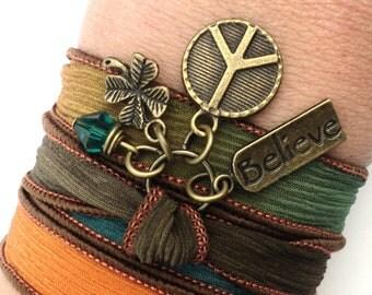 Peace Bracelet, Silk Wrap Bracelet, Yoga Jewelry, Silk Ribbon Bracelet, Fall Jewelry, Autumn Bracelet, Christmas, Stocking Stuffer, GIFTS