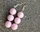Pink Smooth Round Fossil Stone Earrings