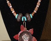 Rustic Southwestern Metal and Beaded Necklace