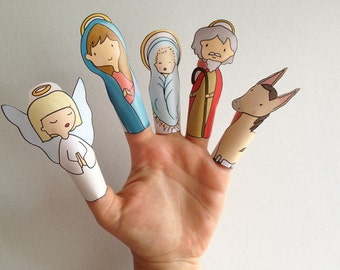 Nativity Christmas Hand Drawn Paper Finger Puppets By Curmilla, Printable PDF,snow,prince,witch,deer,dwarf