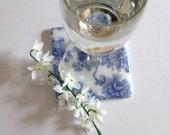 Blue Imari Flower Fused Glass Coasters