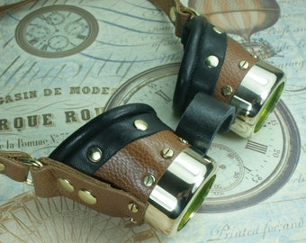Steampunk, Goggles, tan leather, brass, target etched eye pieces