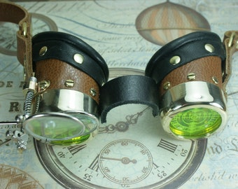 Steampunk, Goggles, tan leather, brass, target etched eye pieces, two magnifying lenses
