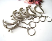 5 cm Nickel Metal Embossed Pattern Half Round Sewing Mini Purse Frame with Ball Clasp Clip and Key Ring - Pack of 5pc