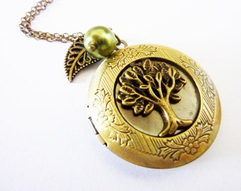 Family Tree - romantic Foto Medaillon Necklace with Tree Leaf and Pearl, Romantic, Art Noveau, Nostalgia, Steampunk Jewelry, Bronze
