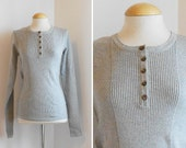 SALE / 70s Grey Sweater / Long Sleeves / Ribbed / Autum Winter Clothing / Size M