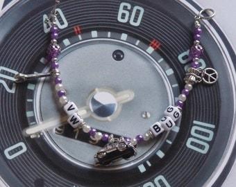 Purple/White/Beetle with Spanner VW Bug Bracelet