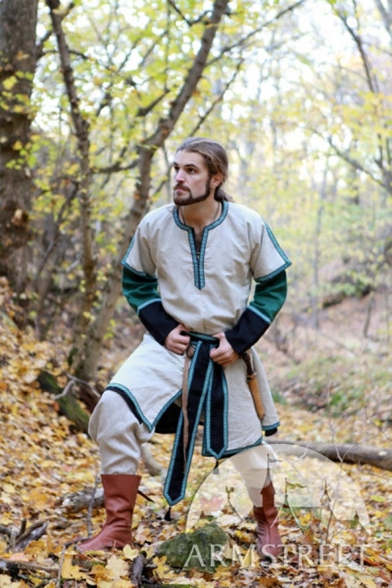 Medieval Long Mens Tunic with Overcoat