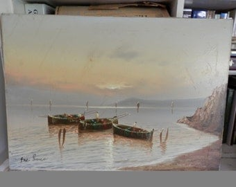 Old Original Signed De Luca Seascape Oil Painting on Canvas Ocean Sea Luminous Breathtaking