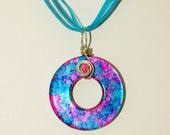 Pink & Blue Wire Wrapped Washer Pendant