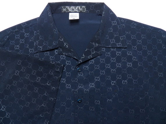 gucci mens xxl 2xl short sleeve button down shirt navy blue