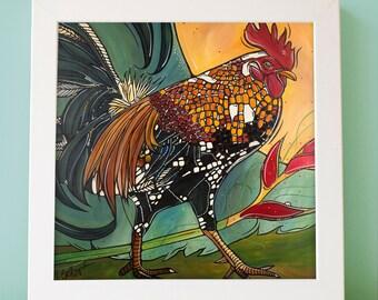 "Rooster Art Print. Rooster Artwork - Chicken Kitchen Decor - 5X7"" Rooster Original Illustration - Rooster Bird Print Illustration"
