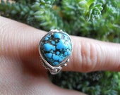 Sterling Silver Wire Wrapped Turquoise Ring    sz.. 4