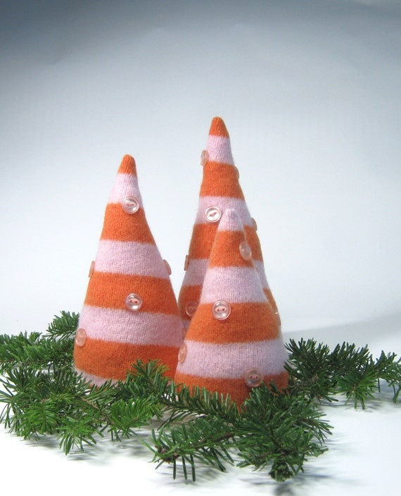 Felted wool Christmas trees Orange pink striped upcycled sweater Set of 3 small decorations Holiday centerpiece