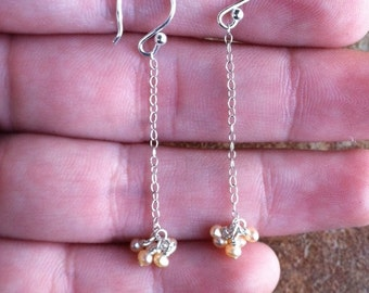 White-Pink Pearl Earrings Sterling Silver Chain Drop