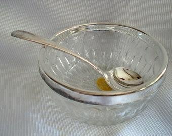 Vintage Sauce Relish Bowl Serving Ladle Leonard Crystal Silverplate Made in Italy Vintage