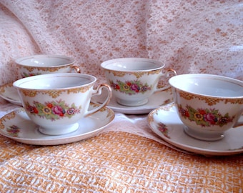 Vintage Teacups Noritake Style Set of 4 Shabby Cottage Chic Made in Japan
