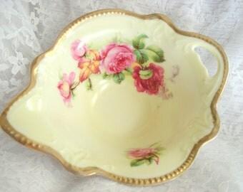 Vintage Shabby Candy Dish German Porcelain Sauce Trinket Dish Shabby Cottage Chic Roses