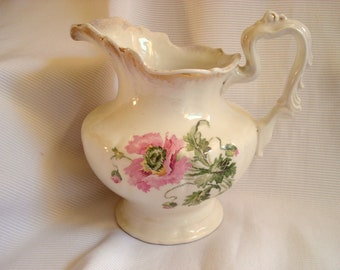 Vintage Shabby Pitcher Anchor Pottery Pink Poppies Semi-Porcelain Rare 1908 Antique Vintage Water Pitcher