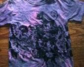 Ombre Dyed Cat print T shirt