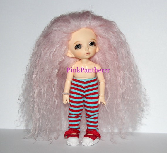 Beautiful Baby Pink Extra Long Wavy Tibetan Lamb fur wig for Pukifee Lati Yellow