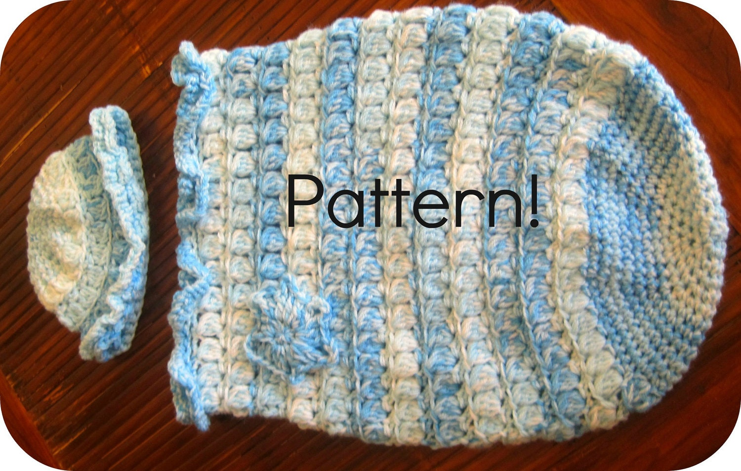 Items similar to Crochet pattern, Baby cocoon with hat ...