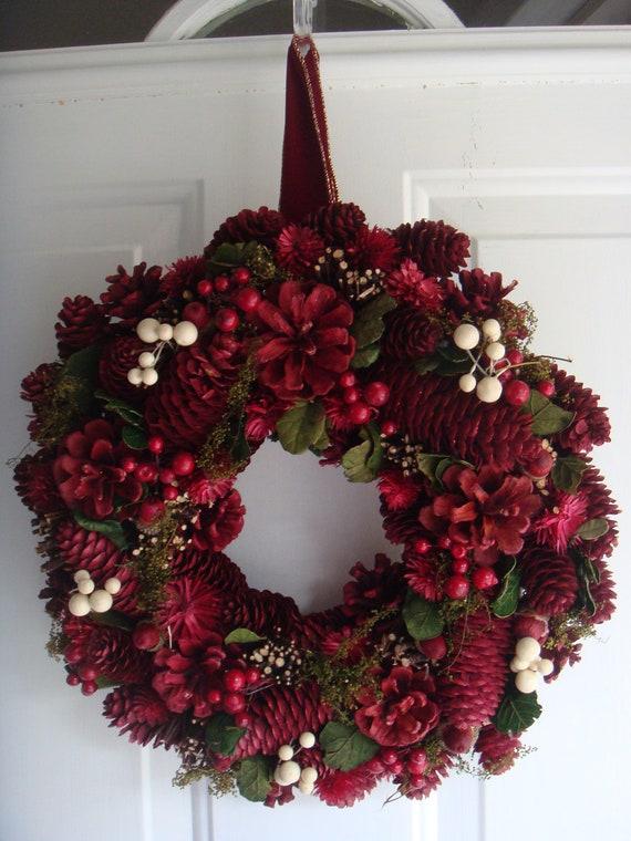 Christmas wreath holiday wreath front door wreath wreaths for Front door xmas wreaths
