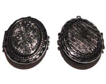 1 Oval Locket, 40x30 mm, Black Ox Plate