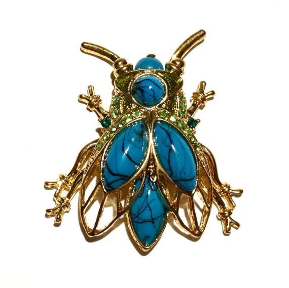 Turquoise Bug Brooch