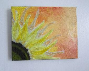 modern orange and yellow sunflower oil paintings 8x10