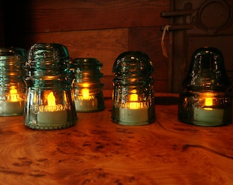 Vintage Industrial Glass Insulator Tea Lights - 5 Blue/Blue-Green Glass Insulators with 5 LED Tea Lights - Great for Gift or Mood Lighting