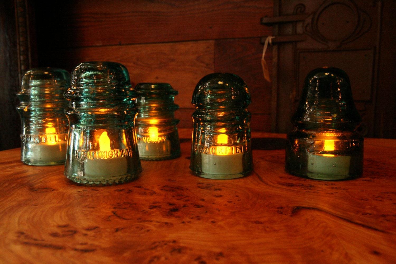 Vintage industrial glass insulator tea lights 5 for Glass electric insulator crafts