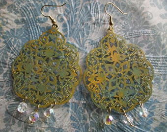 Olive Sage Green and Mustard, Verdigris, Filigree Earrings. Vintage Inspired, Bohemian Statement Jewelry.