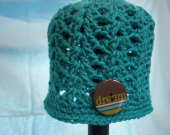 Teal Dream Button Hat - 3 to 6 Months