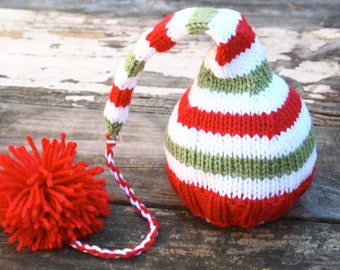 Newborn Baby CHRISTMAS Knitted Striped Elf Hat with long pom pom for Photography Props