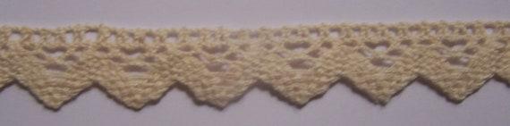 "1 Yard Vintage Beige Crocheted Lace Trim 1"""