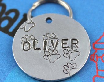 Aluminum Dog Tag - Fun Metal Pet ID Tag With Paw Prints - Hand Stamped Dog Name Tag